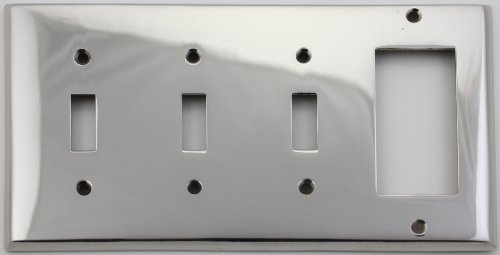 Classic Accents Polished Nickel 4 Gang Switch Plate - 3 Toggle Light Switch Openings 1 GFI/Rocker - Accents Nickel Polished