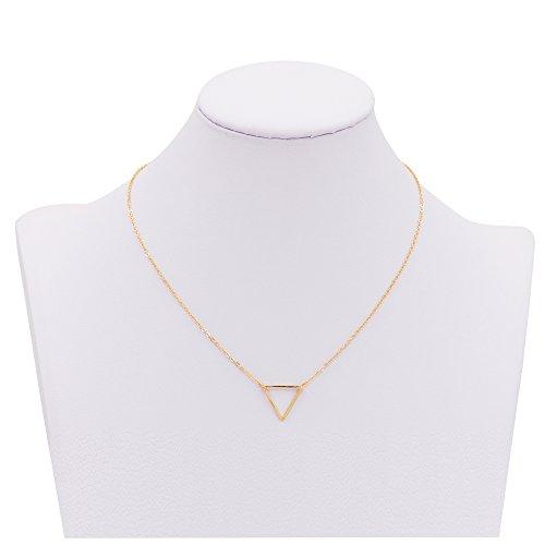 Zealmer Women Simple Hollow Triangle Necklace Pendant Necklace Color Gold Necklace