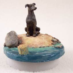 Conversation Concepts Miniature Greyhound Brindle Candle Topper Tiny One ''A Day on the Beach'' by Conversation Concepts