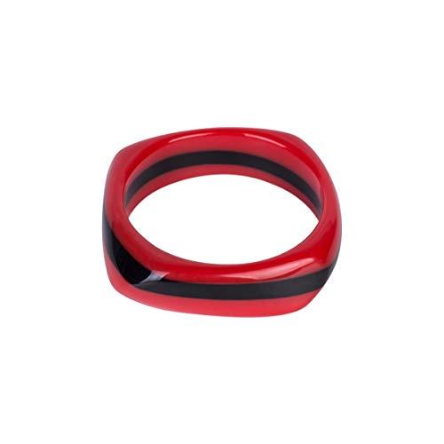 KSDJSA Vintage Resin Cuff Women Bracelet Bangles Colourful Stripe Acrylic Wide Geometric Bangles Girl Charm Jewelry red