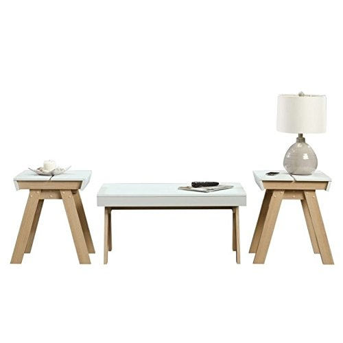 Sauder Square1 3 Piece Coffee Table Set in Urban Ash