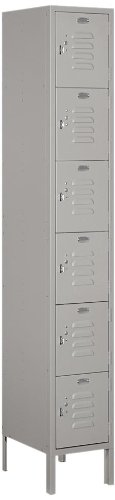 Salsbury Industries 66165GY-U Unassembled Standard Metal Locker with Six Tier Box Style, Gray by Salsbury Industries