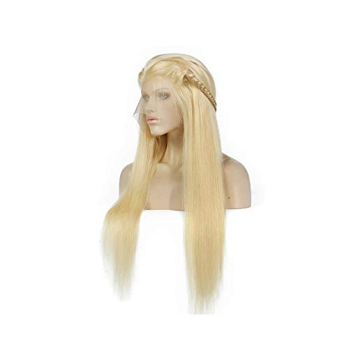 #613 Blonde Wigs 180% Density Silky Straight Brazilian Remy Human lace front Wig 613 Lace Front Human WigLotus leaf -