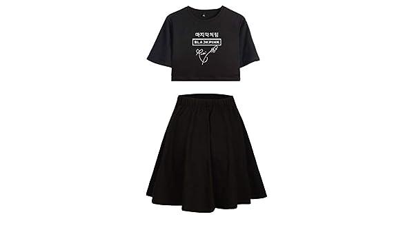 Blackpink Impreso Moda Set de Dos Piezas Camiseta Corta + Falda Pijamas de algodón Lisa Jennie Rose JISOO (4, S): Amazon.es: Ropa y accesorios