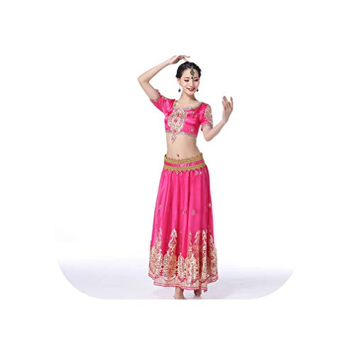 Indian Outfits Traditional Dress Costumes 3Pcs Set Top+Belt+Skirt Women Belly Arabic Themed Full Costumes,Rhodo,S