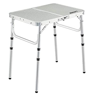 REDCAMP Aluminum Folding Table 2/3/4/6 Foot, Adjustable Height Lightweight Portable Camping Table for Picnic Beach Outdoor Travel Indoor Use, White