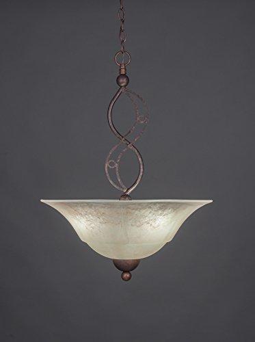 BRZ-53813 Jazz Three-Bulb Uplight Pendant Bronze Finish with Amber Marble Glass, 20-Inch ()