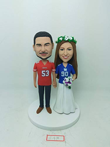 - San Francisco 49ers Groom NY Giants Bride Personalized Wedding Cake Topper 49ers Wedding NY Giants Wedding 49er Cake Topper Giants Topper