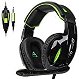Updated SUPSOO Xbox One Gaming Headset 3.5mm wired Over-ear Noise Isolating Microphone Volume Control for Xbox one /PS4/Mac/PC/ Laptop -Black