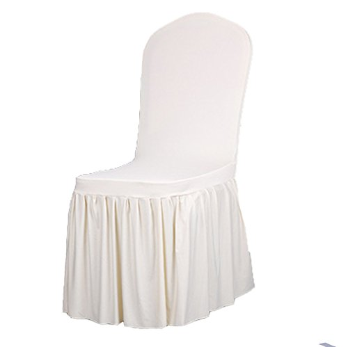 TEERFU 2 x Removable Stretch Dining/Parsons Chair Long Skirt Slipcover Protector, Super Fit Pleated Banquet Chair Seat Cover for Hotel and Wedding Ceremony, ()