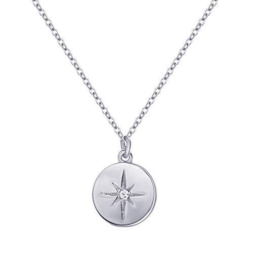 S.Leaf Compass Necklace Sterling Silver Starburst Necklace Disc Pendant Necklace for Woman (white gold plated)