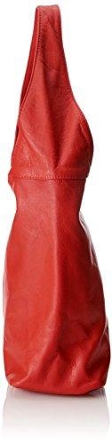 dans Rosso à Italy fermeture main sac en Made Rouge in CTM cuir bandoulière à 100 éclair 41x55x12cm la femme sac véritable EfSUxnqw8R