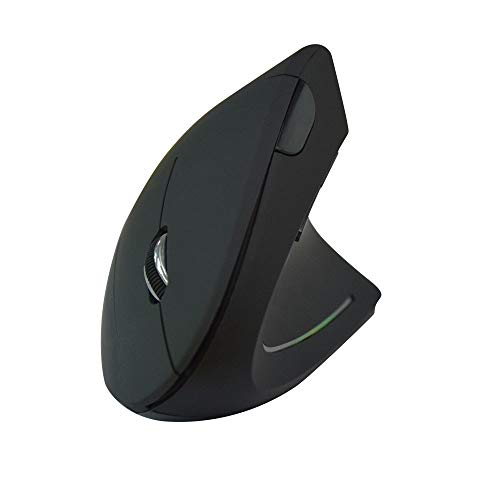 Wireless Vertical Ergonomic Mouse, 800/1000/ 1200/1600 DPI, 6 Buttons for Computer, Laptop,Desktop,PC,5th Generation -Black (Black,2.4G Battery)