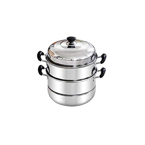 NXiang Steamer pot, home kitchen 3-layer stainless steel steamer set, outdoor, gas stove cooker universal steamer cookware, silver, 30 cm (30 34) cm Kitchen steamer (Color : Silver)