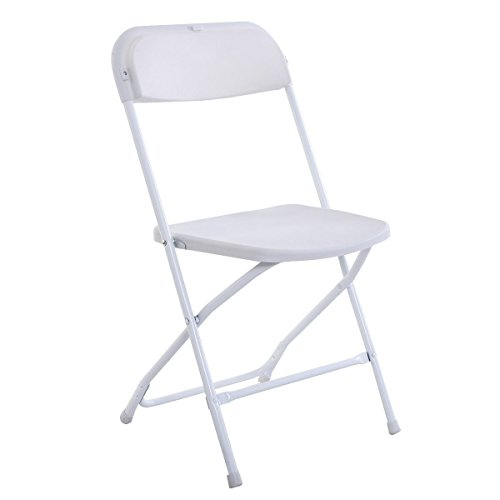 FCH® Folding Chairs, 5 PACK, White Plastic Foldable Chairs Stackable Chair Camping Chair Wedding Party Event Home Garden Chair