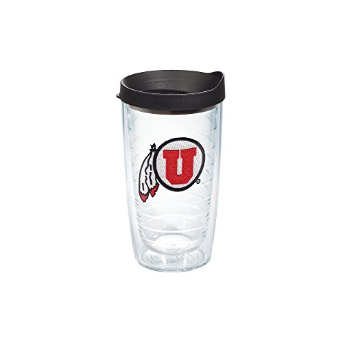 Utah 16 Ounce Tumbler - Tervis 1085067 Utah Utes Logo Tumbler with Emblem and Black Lid 16oz, Clear