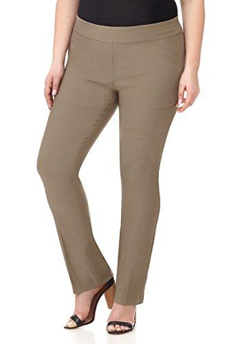 Rekucci Curvy Woman Plus Size Modern Straight Leg Pant w/Tummy Control (14W,Oatmeal)