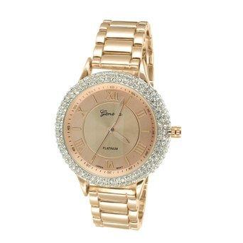 Lab Diamond Bezel Watch Rose Gold Finish Mens Womens Round Face Geneva - Platinum Watch Diamond
