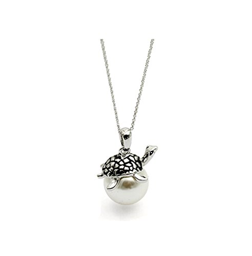 Large Turtle Pendant - Gift for Girls White Gold Plated Retro Style Cute Animal Turtle Pendant Necklace with Large White Cultured Pearl Fashion Jewelry