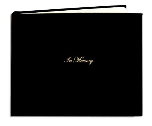 "BookFactory Leather Funeral Guest Book ""In Memory"" / Memorial Book / Memorial Guest Book (48 Pages- 8 7/8"" x 7""), Black Leather, Smyth Sewn Hardbound (LOG-048-MEM-A-XKT7)"