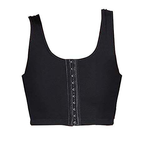 TOKYO-T Chest Binder for Women Cosplay 3 Rows Front Hook Tank Lesbian (US L Asian XL, Black)