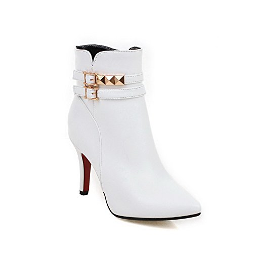 VogueZone009 Damen Niedrig-Spitze Reißverschluss Stiletto Spitz Zehe Stiefel Weiß