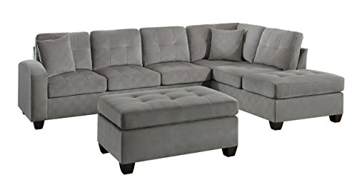 Homelegance 2 Piece Sectional Sofa Polyester With Reversible Chaise, Two Toss Pillows, and Ottoman, Taupe