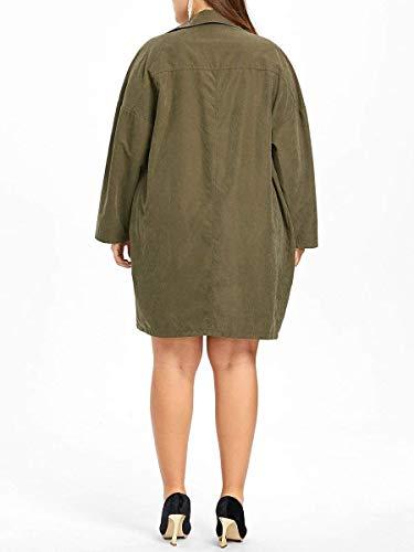 Mode Vestes Poches Fille Confortable Vintage Chic Manteau Pure Femme Manches Plus Survêtement Casual Couleur Automne Tailles Revers Avec À Armygreen Printemps Veste Longues qxvTnSwYR