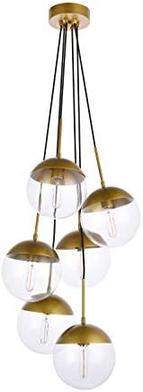 A1A9 Sphere Glass Pendant Lights with 6-Light, Modern Industrial Round Ball Globe Ceiling Light Fitting, E26 LED Chandelier Lamp Fixture for Kitchen Island, Bar, Dining Room, Counter, Cafe Brass