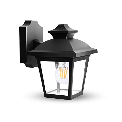 FUDESY Classic LED Outdoor Wall Lantern, Black Polypropylene Plastic Porch Lamp with Clear Acrylic Lenses, Waterproof Porch Light - Classic Fixture Outdoor