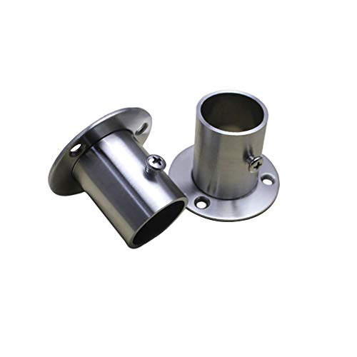 Tiazza 2Pcs Stainless Steel Adjustable Round Wardrobe Bracket Hanging Rail Rod End Bracket Support Closet Pole Sockets