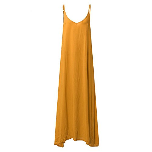 WNDSYN Summer Women Boho Strapless Sexy V Neck Sleeveless Dress Casual Loose Long Maxi Solid Dress Yellow S -