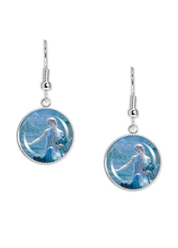 Valkyrie's Vigil Norse War Goddess Hughes Painting Dangle Earrings w/ 3/4