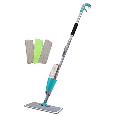 Finnkare Spray Floor Mop Kit with 3 Reusable Microfiber Pads 360 Degree Professional Handle Mop for Home Kitchen Hardwood Laminate Wood Ceramic Tiles Floor Cleaning