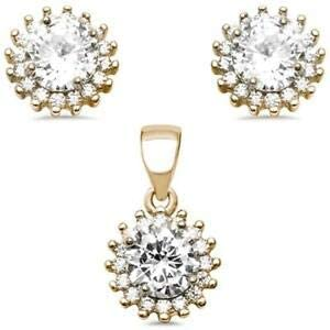 Yellow Gold Plated Halo Cubic Zirconia 925 Sterling Silver Earring and Pendant Jewelry Accessories Key Chain Bracelet Necklace Pendants
