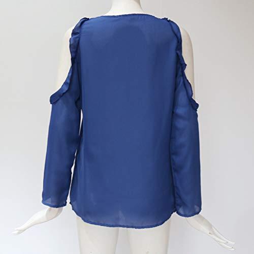 Sexy lgant Ample Chemisier Manches Froide Chemise Col Baijiaye V Mousseline Soie Tops paule Bleu Volants Longues de Femmes Saphir Blouse R8I66wqz