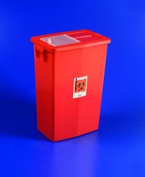SharpSafety Large Volume Sharps Containers - 18 gal, Red, Sliding Lid - 1 case (5 Each) by COVIDIEN