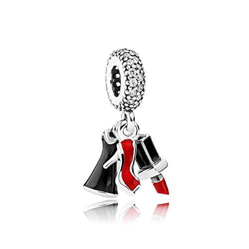 Romántico Amor Lipstick High Heel ShoesWomen's Dress Charm Silver Trio Of Glamor Zirconia Bead Fit Pandora Bracelets