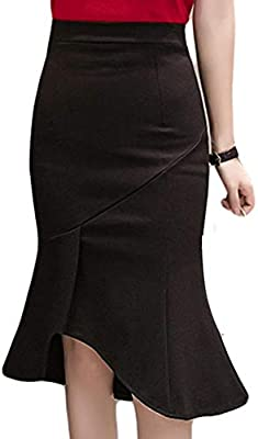 DAHDXD Falda de Trompeta Negra de Moda Mujer Falda de lápiz Sexy ...