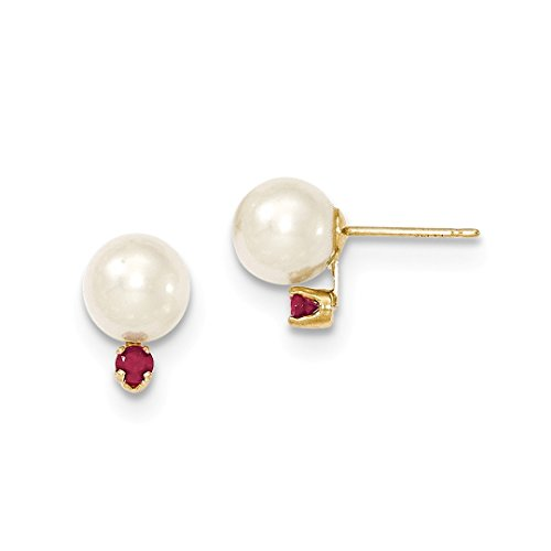 ICE CARATS 14k Yellow Gold 8mm Round White Freshwater Cultured Pearl Red Ruby Post Stud Ball Button Earrings Fine Jewelry Ideal Mothers Day Gifts For Mom Women Gift Set From Heart