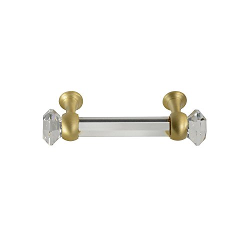 #G-60 3 in. CKP Brand Elegance Glass Collection Clear Glass Pull with Satin Brass Base - 10 Pack by CKP (Image #2)