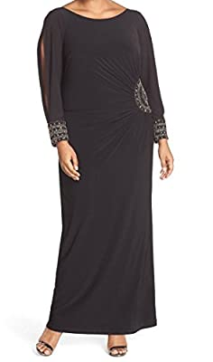 Xscape Womens Plus Jersey Embellished Sheath Dress Black 14W