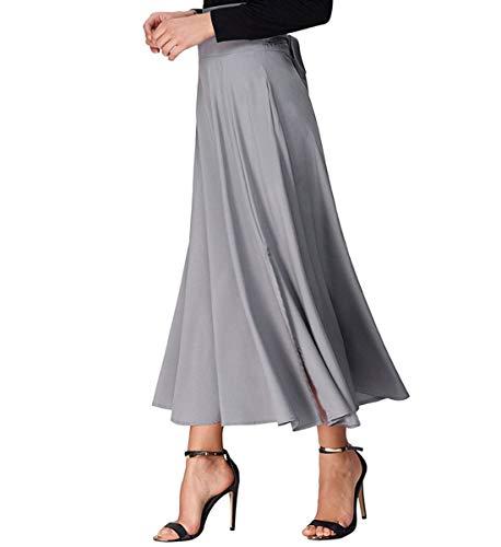 Plisse Jupe Longue Taille Femme Jupe Haute Poches Xsayjia Maxi Casual lgante Grey Vintage avec Fxv8Un5wq