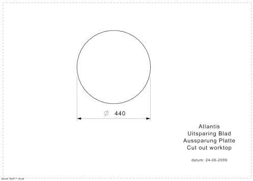 Medizinische Edelstahl Einbausp/üle rund mit Hahnloch Atlantis-CC L