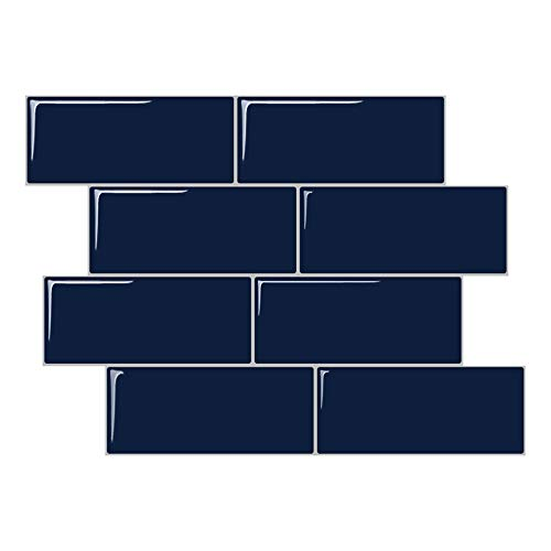 - STICKGOO Peel and Stick Subway Tile, Stick on Tiles Backsplash Kitchen & Bathroom 5 Sheet (Deep Blue, Thicker Design)