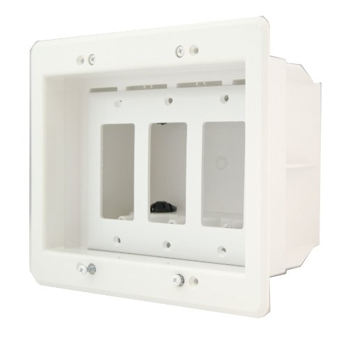 Arlington DVFR3W-1 Recessed Electrical Outlet Mounting Box with Paintable Wall Plate, 3-Gang, White