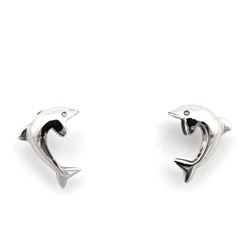 Gold Ring White Dolphin (14k White Gold Dolphin Stud Earrings with Child Safe Screwbacks)
