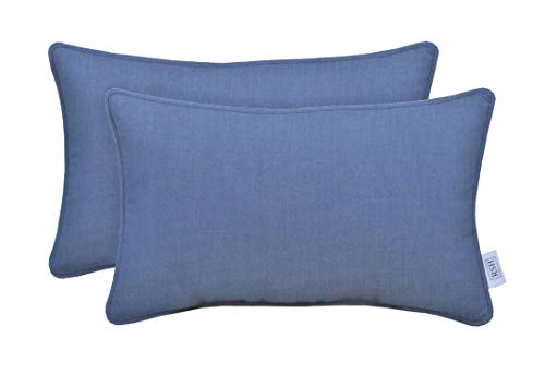 Indoor Outdoor Decorative Corded Lumbar Rectangle Throw Pillow Zipper Covers Made of Sunbrella Canvas Air Blue (Cover Only, 12