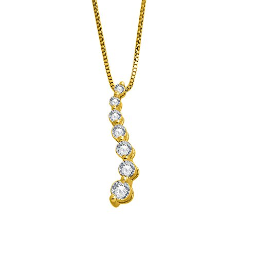 IGI Certified 14k Yellow Gold 7 Stone Journey Diamond Pendant Necklace (1/4 Carat)