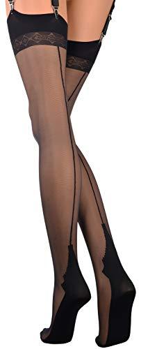 Pennac 20 Den Back Seamed Stockings [Garter belt not included] Color: Black Size: Tall 3/4 (Tall Large/X-Large)